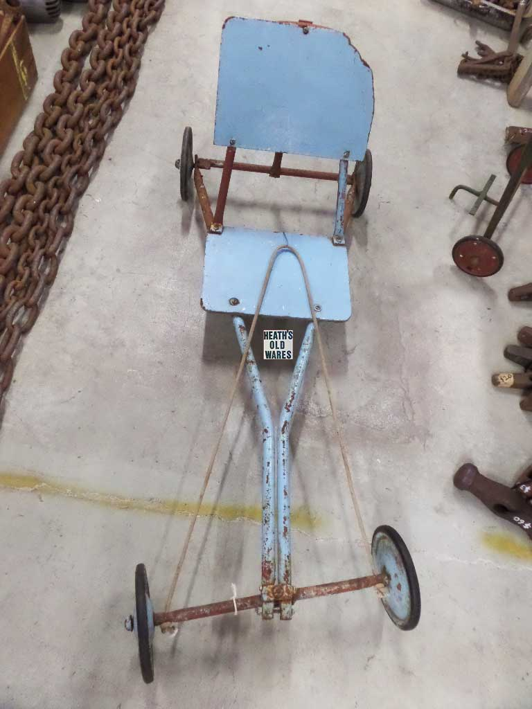 Blue Vintage Billycart for sale at Heaths Old Wares, Collectables, Antiques & Industrial Antiques, 19-21 Broadway, Burringbar NSW 2483 Ph 0266771181 open 7 days