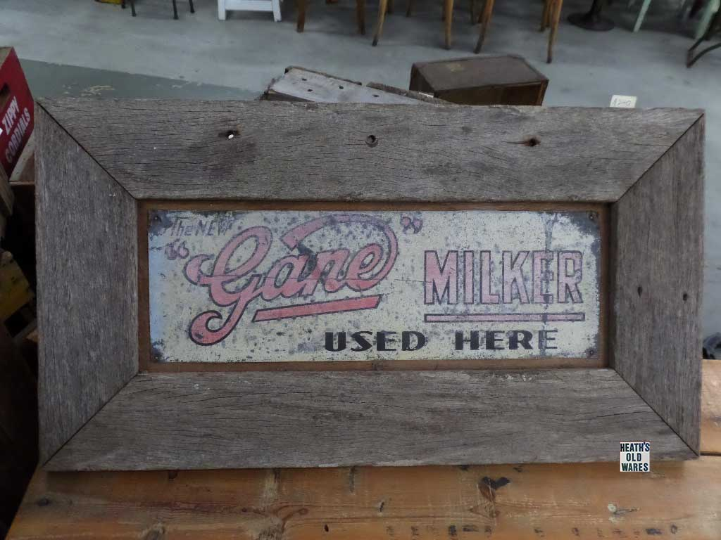 Gane Milking Sign - Original for sale at Heaths Old Wares, Collectables, Antiques & Industrial Antiques, 19-21 Broadway, Burringbar NSW 2483 Ph 0266771181 open 7 days