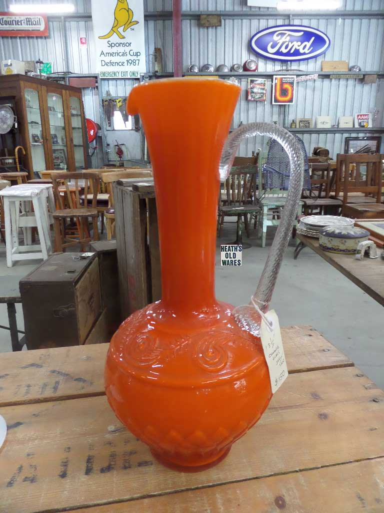 Tall orange jug vase for sale at Heath's Old Wares, Collectables, Industrial Antiques, 19 -21 Broadway Burringbar NSW 2483 Ph 0266771181 Open 7 days
