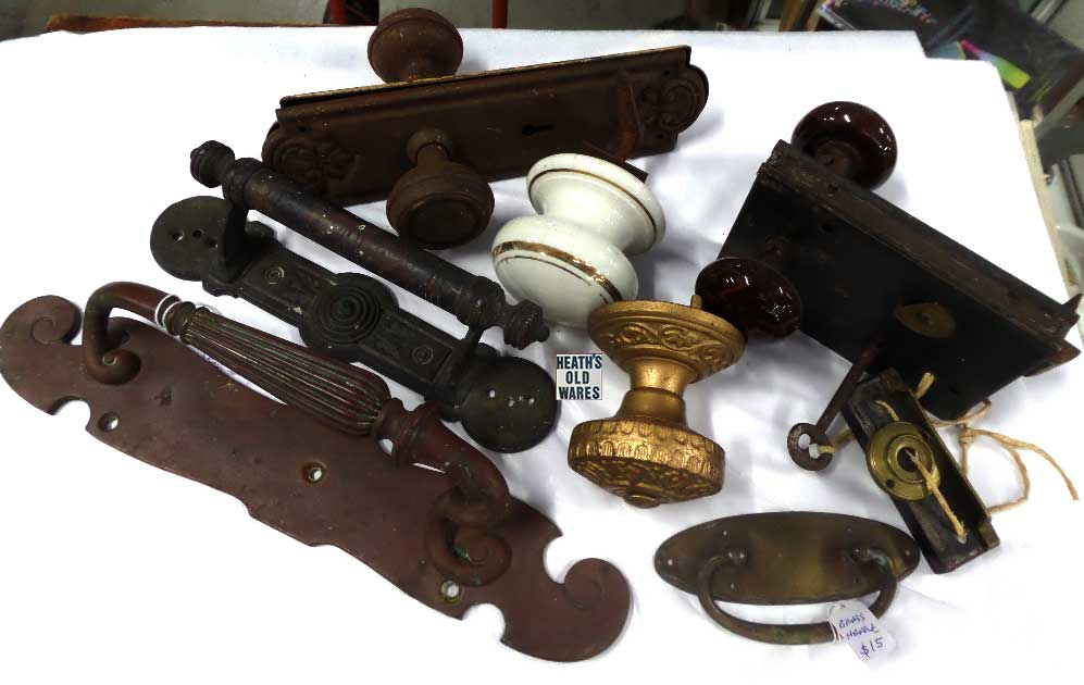 Door hardware for sale at Heaths Old Wares, Collectables, Antiques & Industrial Antiques, 19-21 Broadway, Burringbar NSW 2483 Ph 0266771181 open 7 days