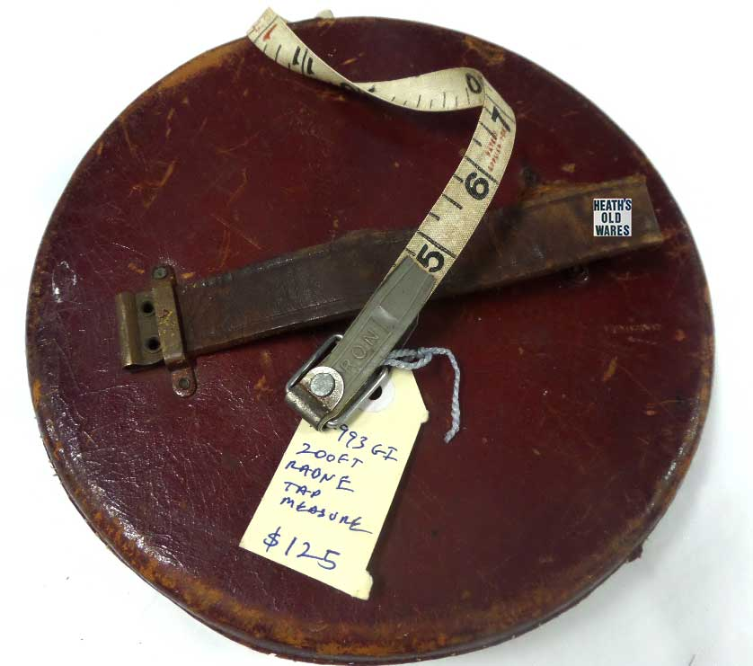 Antique Rabone 200 foot tape measure for sale at Heaths Old Wares, Collectables, Antiques & Industrial Antiques, 19-21 Broadway, Burringbar NSW 2483 Ph 0266771181 open 7 days