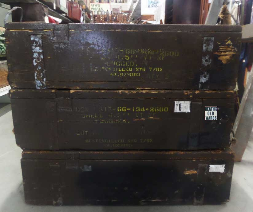Antique ammo boxes for sale at Heaths Old Wares, Collectables & Industrial Antiques, 19-21 Broadway, Burringbar NSW 2483 Ph 0266771181