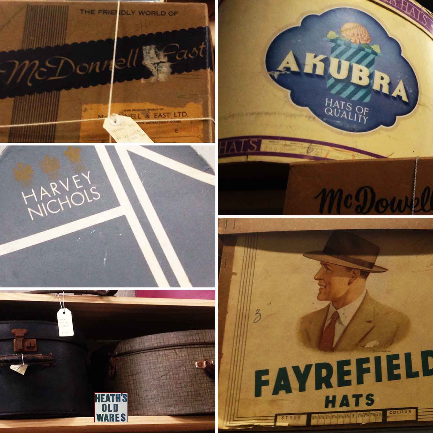 Vintage and antique hatboxes for sale at Heaths Old Wares, Collectables, Antiques & Industrial Antiques, 19-21 Broadway, Burringbar NSW 2483 Ph 0266771181 open 7 days