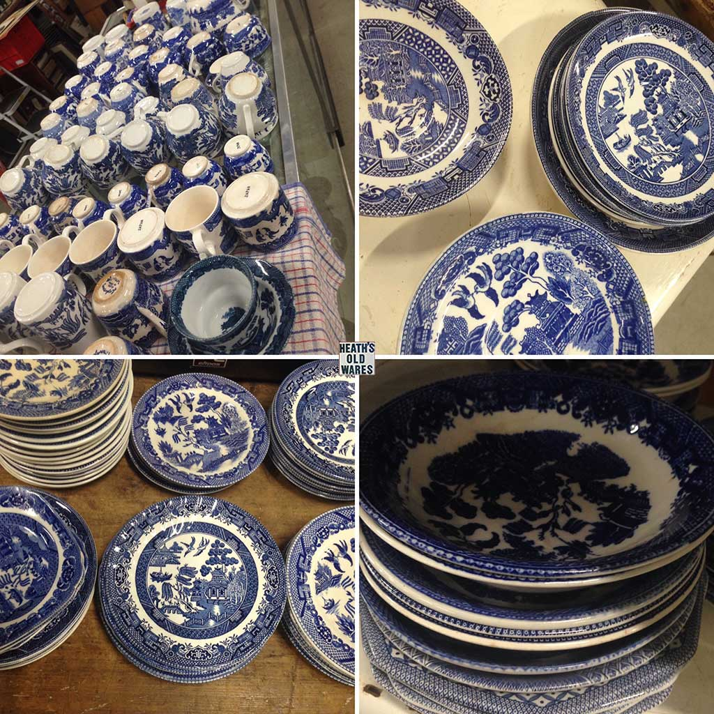Vintage and antique Willow pattern crockery for sale at Heaths Old Wares, Collectables, Antiques & Industrial Antiques, 19-21 Broadway, Burringbar NSW 2483 Ph 0266771181 open 7 days