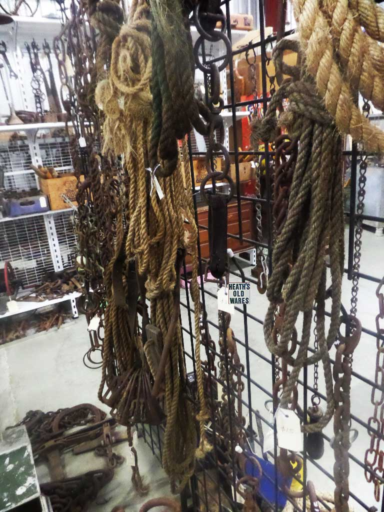 Assorted chains and rope for sale at Heaths Old Wares, Collectables, Antiques & Industrial Antiques, 19-21 Broadway, Burringbar NSW 2483 Ph 0266771181 open 7 days