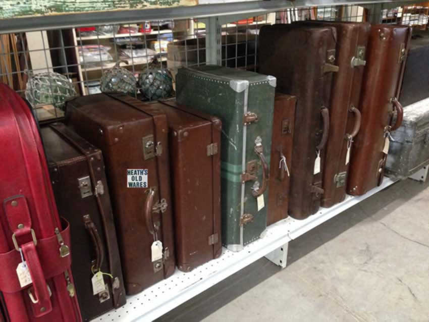Vintage and antiwue suitcases to travel with, store your treasures in for sale at Heaths Old Wares, Collectables, Antiques & Industrial Antiques, 19-21 Broadway, Burringbar NSW 2483 Ph 0266771181 open 7 days