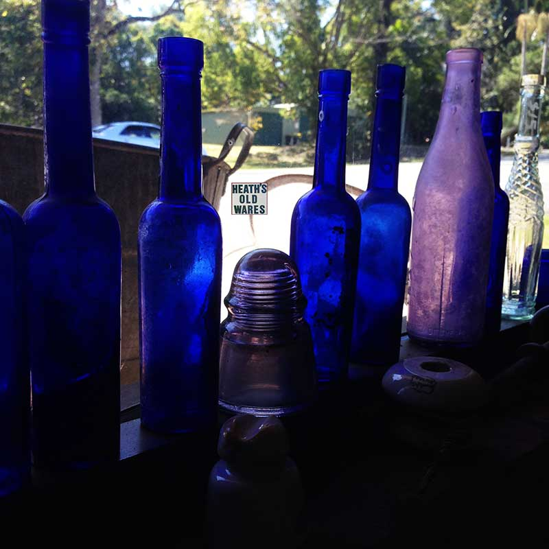 Antique, vintage and collectable bottles for sale at Heath's Old Wares, Collectables, Antiques & Industrial Antiques, 19-21 Broadway, Burringbar NSW 2483 Ph 0266771181 open 7 days