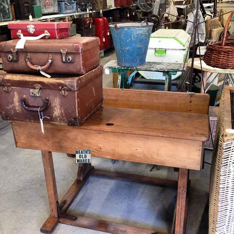 Vintage children's school desk for sale at Heaths Old Wares, Collectables, Antiques & Industrial Antiques, 19-21 Broadway, Burringbar NSW 2483 Ph 0266771181 open 7 days