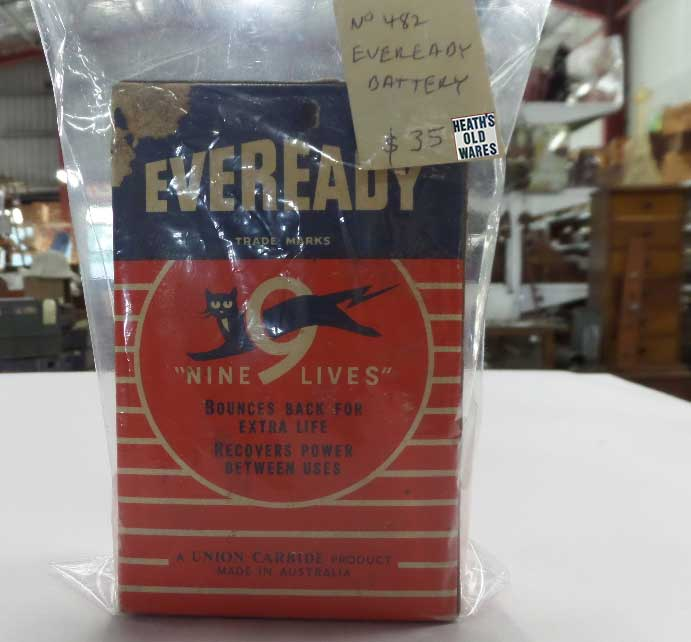 Eveready original vintage battery for sale at Heath's Old Wares, Collectables, Antiques & Industrial Antiques, 19-21 Broadway, Burringbar NSW 2483 Ph 0266771181 open 7 days