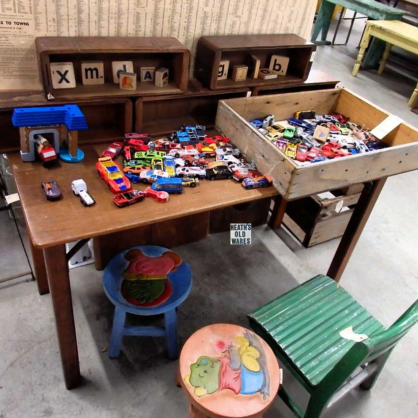 Kids Corner, old school table desk $65, children's stools pink and blue $30 each, timber chairs $55 - $90 for sale at Heaths Old Wares, Collectables, Antiques & Industrial Antiques, 19-21 Broadway, Burringbar NSW 2483 Ph 0266771181 open 7 days