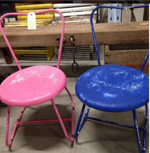 Children's vintage steel back chairs $70 each for sale at Heath's Old Wares, Collectables, Antiques & Industrial Antiques, 19-21 Broadway, Burringbar NSW 2483 Ph 0266771181 open 7 days