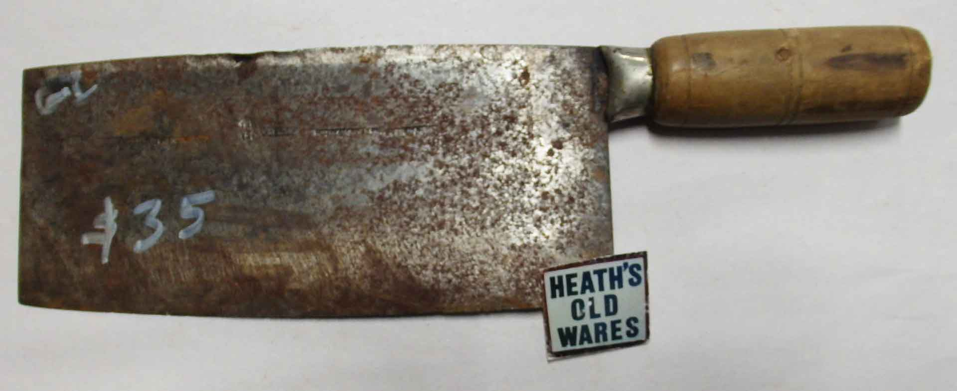 Cleaver $35 for sale at Heaths Old Wares, Collectables, Antiques & Industrial Antiques, 19-21 Broadway, Burringbar NSW 2483 Ph 0266771181 open 7 days