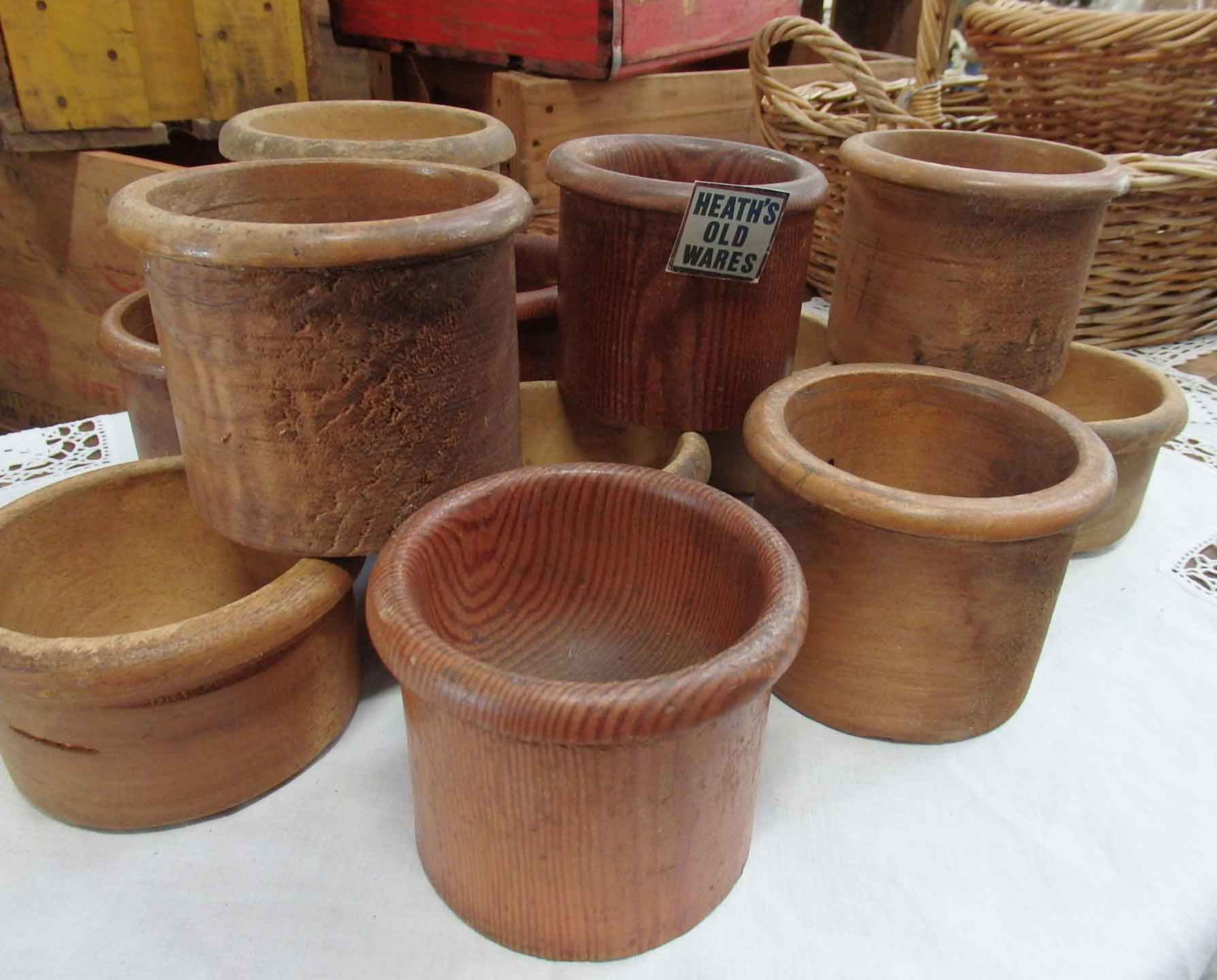 Timber coin pots from banks and post office type establishents $30 - $40  for sale at Heaths Old Wares, Collectables, Antiques & Industrial Antiques, 19-21 Broadway, Burringbar NSW 2483 Ph 0266771181 open 7 days