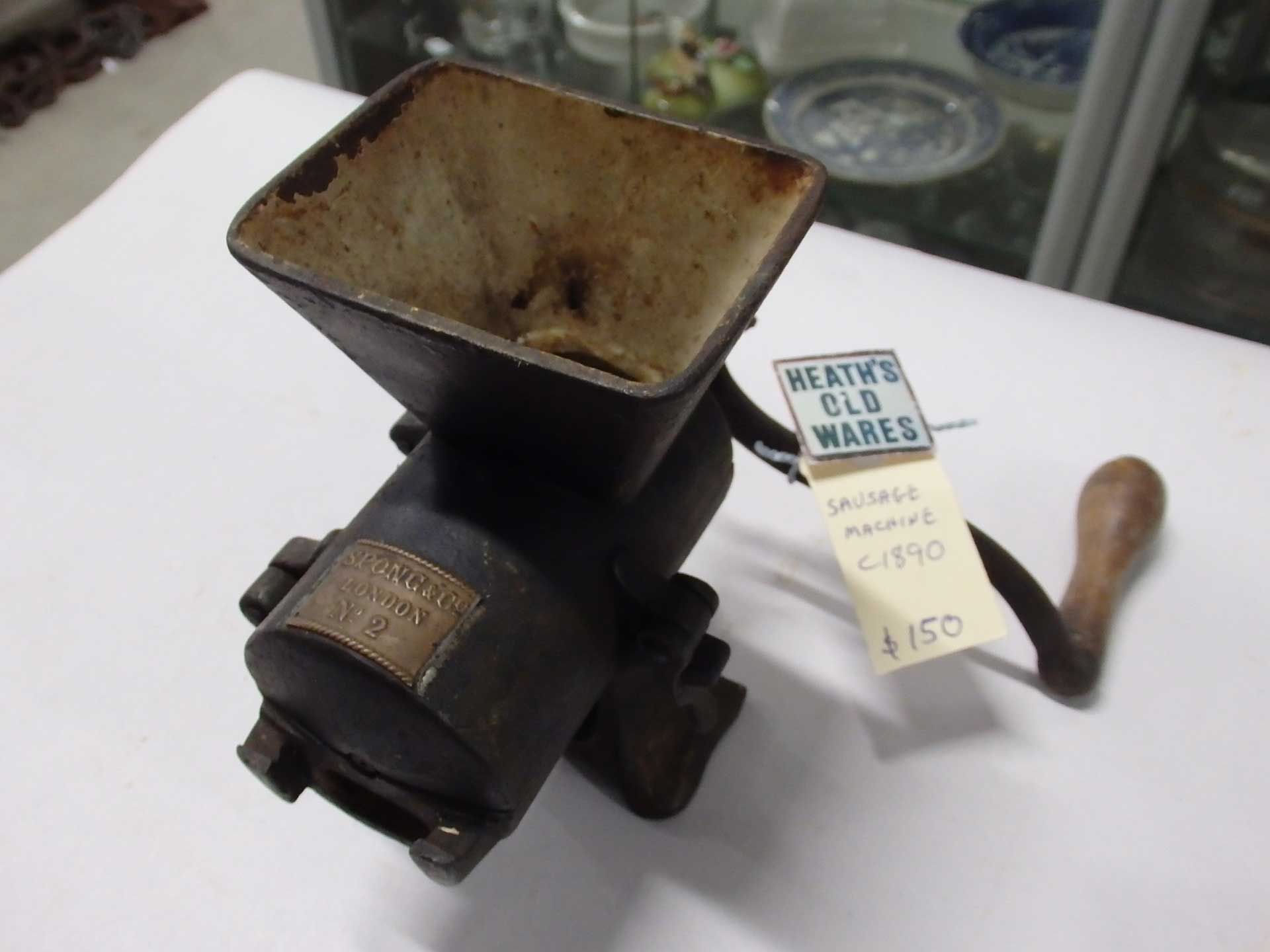 Circa 1890 Spong & Co. London sausage maker $150 for sale at Heaths Old Wares, Collectables, Antiques & Industrial Antiques, 19-21 Broadway, Burringbar NSW 2483 Ph 0266771181 open 7 days