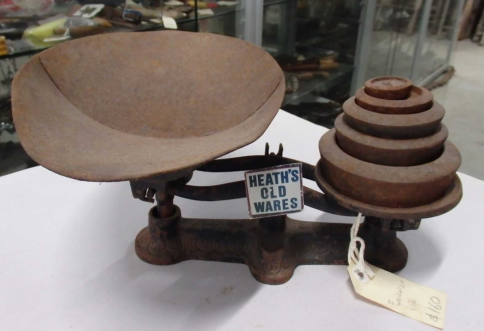Scales with 5 weights $160 for sale at Heaths Old Wares, Collectables, Antiques & Industrial Antiques, 19-21 Broadway, Burringbar NSW 2483 Ph 0266771181 open 7 days