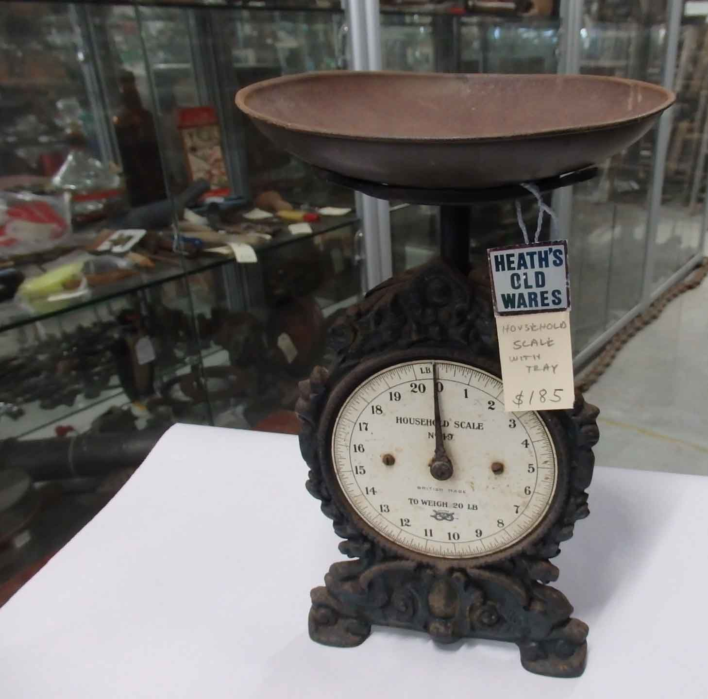 Clock face Household Scales No. 49 $185 for sale at Heaths Old Wares, Collectables, Antiques & Industrial Antiques, 19-21 Broadway, Burringbar NSW 2483 Ph 0266771181 open 7 days