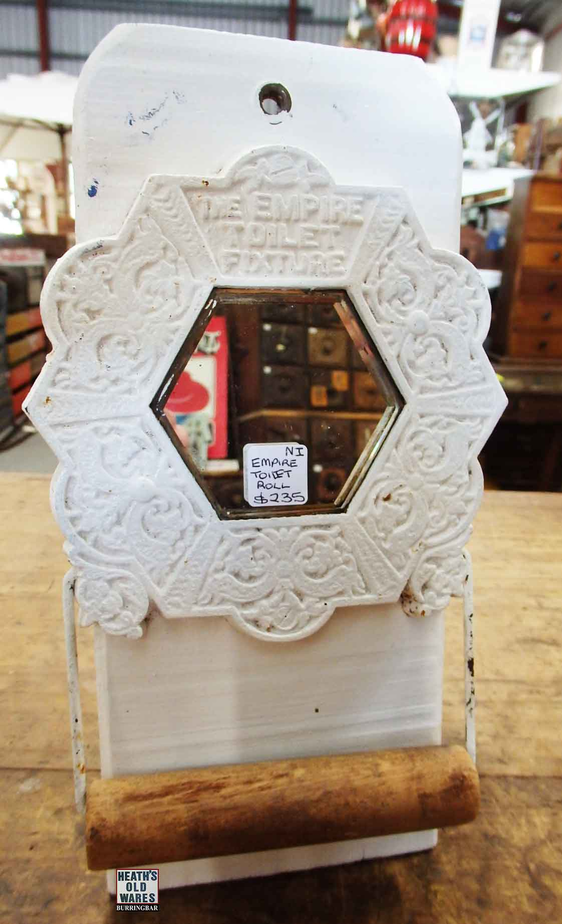 Empire cast toilet roll holder $235 for sale at Heaths Old Wares, Collectables, Antiques & Industrial Antiques, 19-21 Broadway, Burringbar NSW 2483 Ph 0266771181 open 7 days