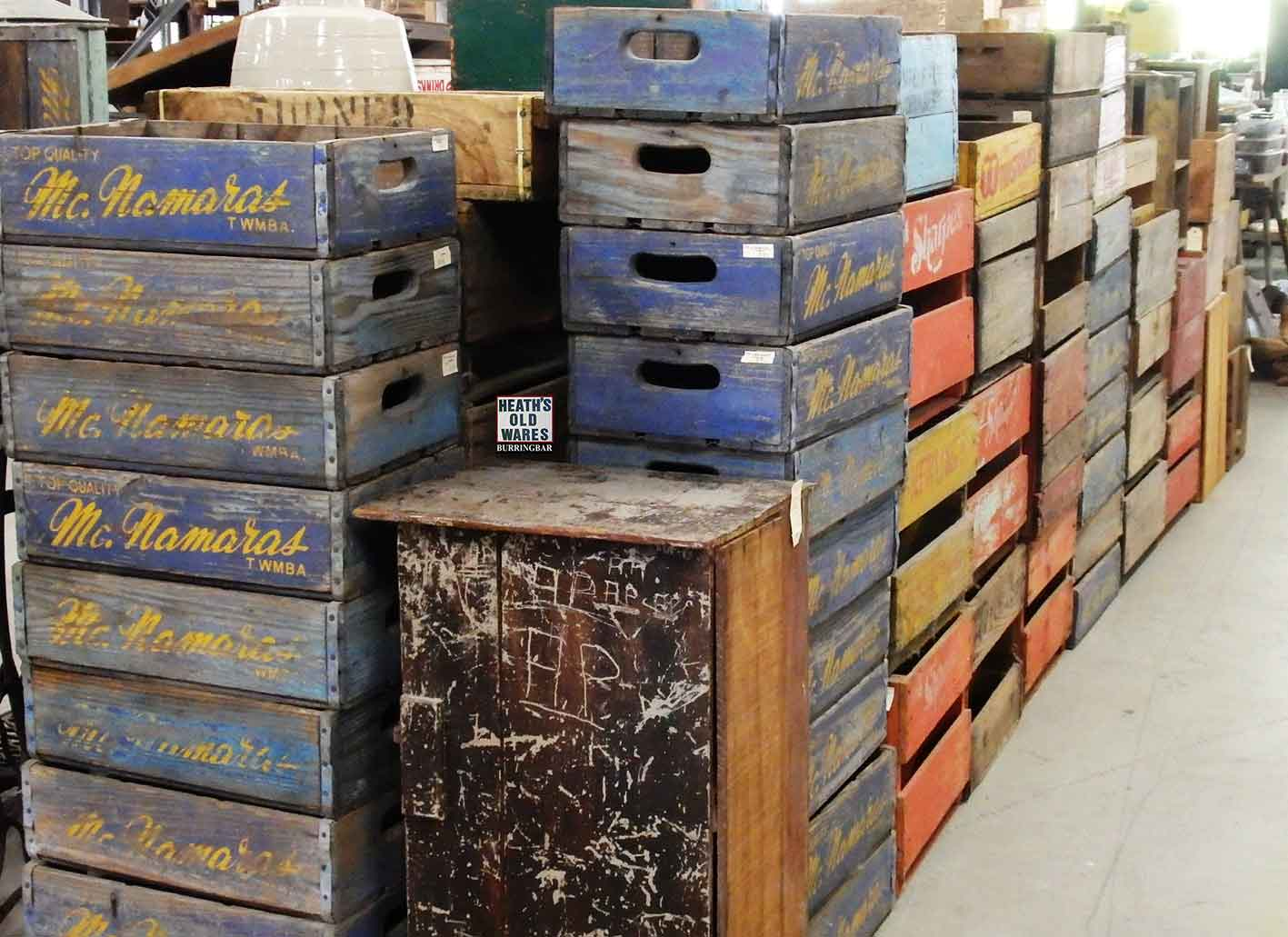 timber crates and boxes for sale at Heaths Old Wares, Collectables & Industrial Antiques, 19-21 Broadway, Burringbar NSW 2483 Ph 0266771181