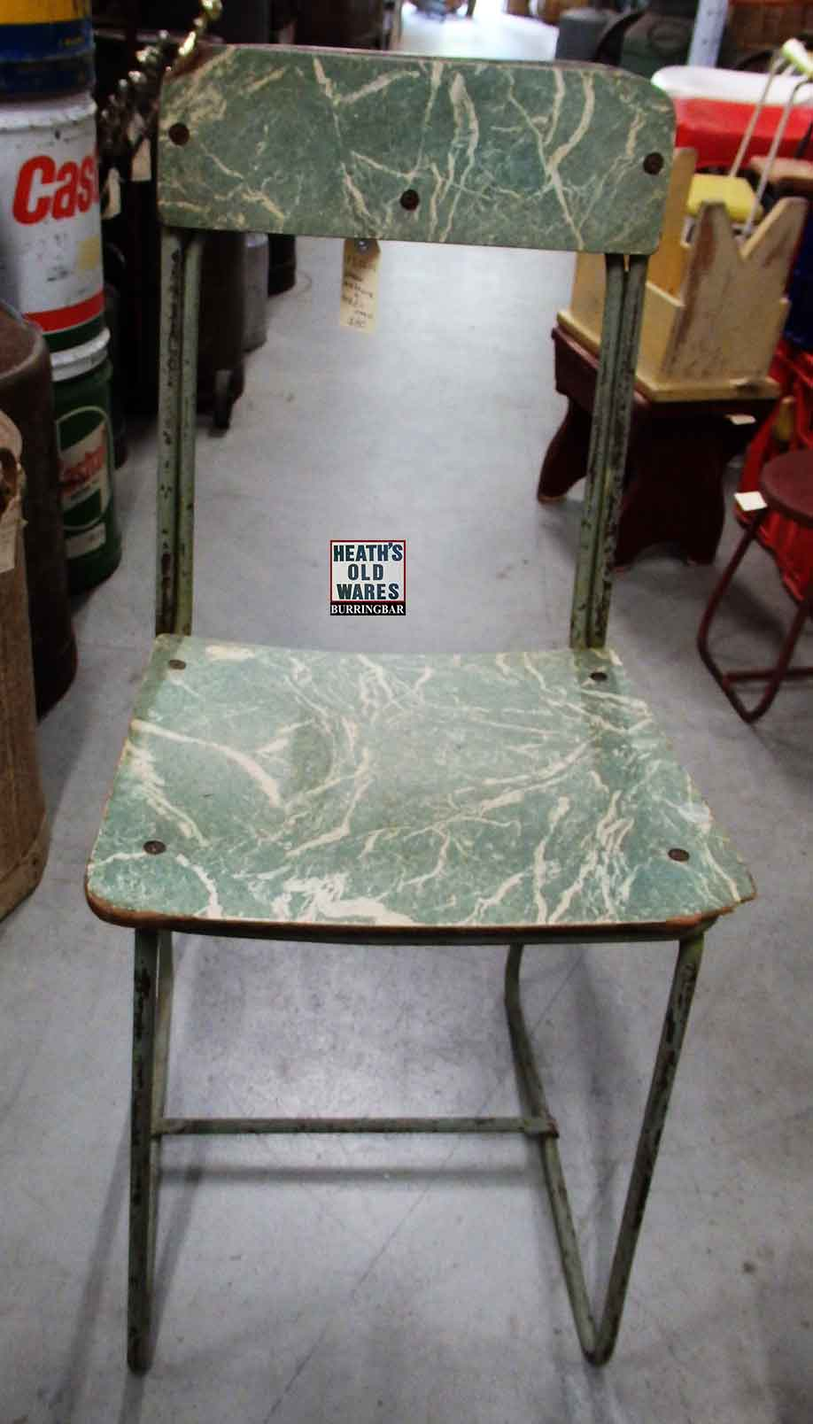 Vintage 1950s green and white laminate chair $80 for sale at Heaths Old Wares, Collectables, Antiques & Industrial Antiques, 19-21 Broadway, Burringbar NSW 2483 Ph 0266771181 open 7 days