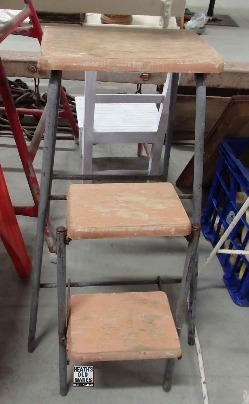 Vintage step stool chair $125 for sale at Heaths Old Wares, Collectables, Antiques & Industrial Antiques, 19-21 Broadway, Burringbar NSW 2483 Ph 0266771181 open 7 days