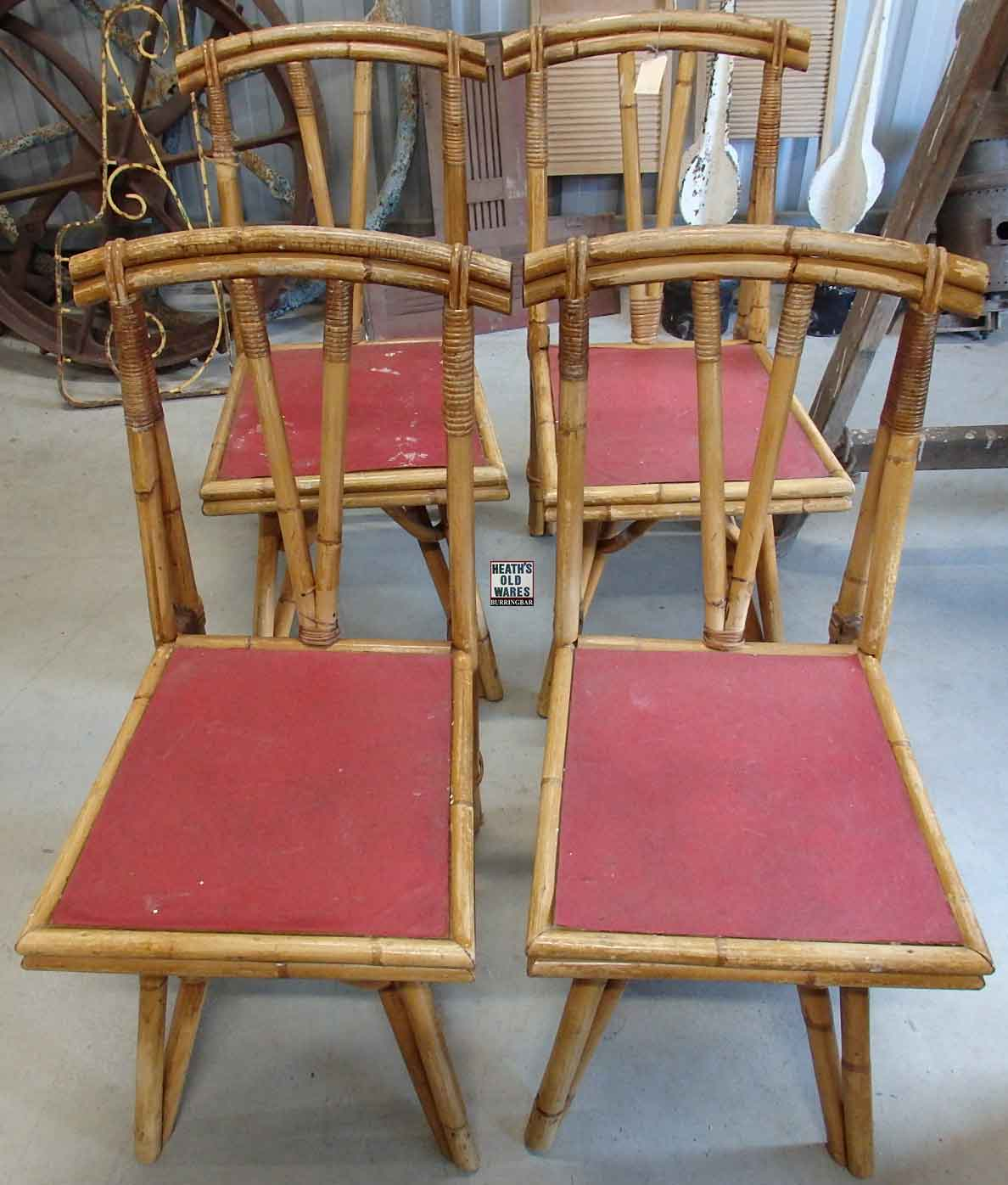 Set of 4 cane chairs $180 for sale at Heaths Old Wares, Collectables, Antiques & Industrial Antiques, 19-21 Broadway, Burringbar NSW 2483 Ph 0266771181 open 7 days