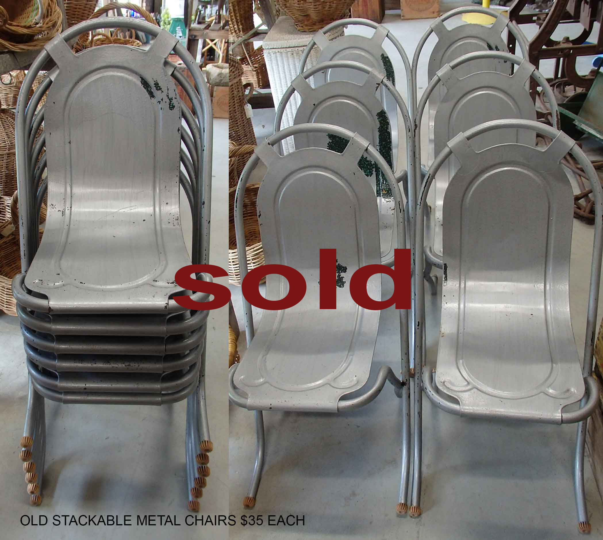 6 old metal stacking chairs $35 each  for sale at Heaths Old Wares, Collectables, Antiques & Industrial Antiques, 19-21 Broadway, Burringbar NSW 2483 Ph 0266771181 open 7 days