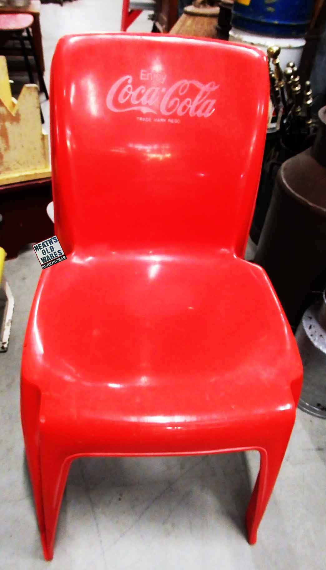 Vintage sebel red coca-cola plastic chairs $30 each for sale at Heaths Old Wares, Collectables, Antiques & Industrial Antiques, 19-21 Broadway, Burringbar NSW 2483 Ph 0266771181 open 7 days