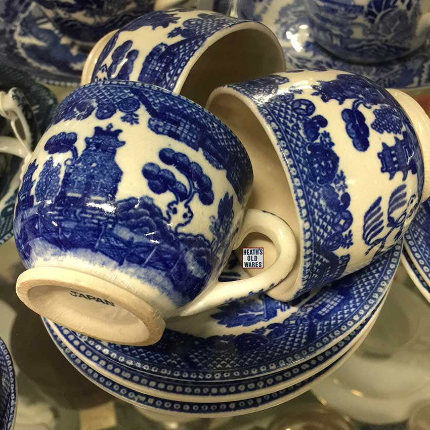 So sweet, so small, Willow pattern tea cups, stamped JAPAN, $30 per cup and saucer  for sale at Heaths Old Wares, Collectables, Antiques & Industrial Antiques, 19-21 Broadway, Burringbar NSW 2483 Ph 0266771181 open 7 days