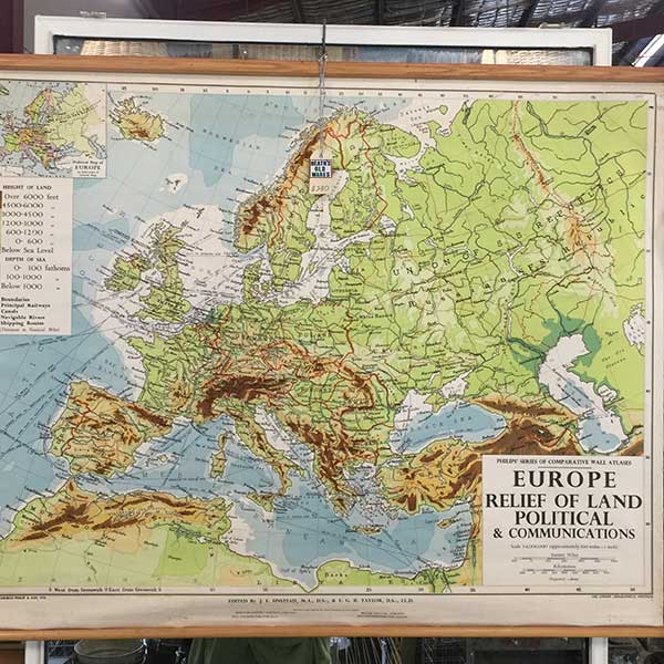 Vintage mape of Europe for sale at Heaths Old Wares, Collectables, Antiques & Industrial Antiques, 19-21 Broadway, Burringbar NSW 2483 Ph 0266771181 open 7 days