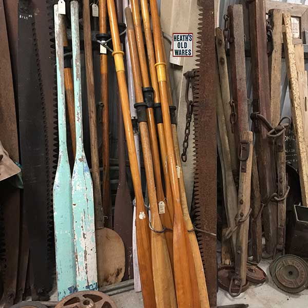 vintage timber rowing oars for sale at Heaths Old Wares, Collectables, Antiques & Industrial Antiques, 19-21 Broadway, Burringbar NSW 2483 Ph 0266771181 open 7 days