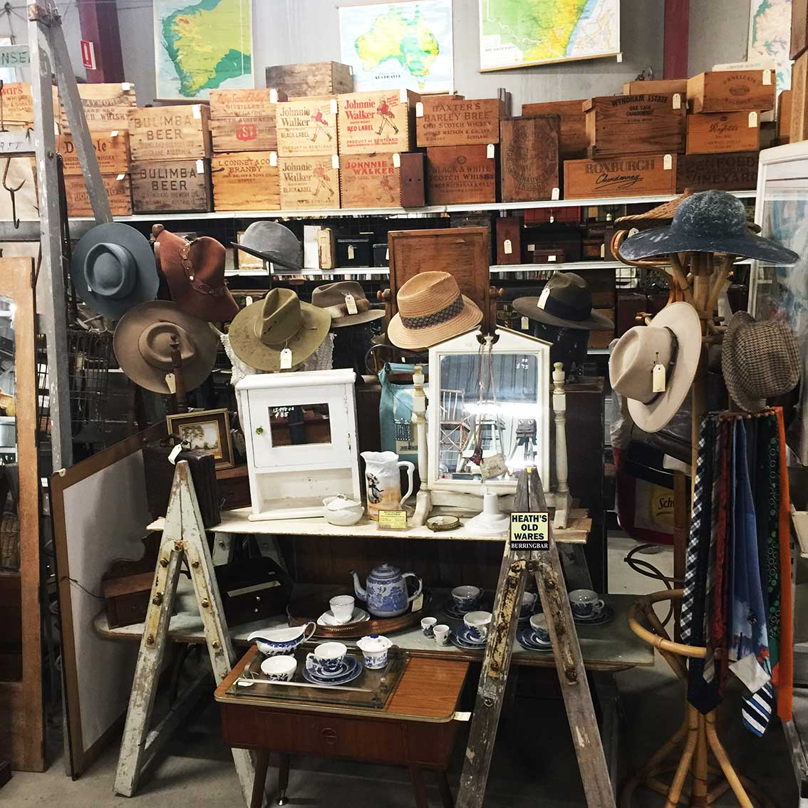 Used Vintage Akubra hats for sale at Heaths Old Wares, Collectables, Antiques & Industrial Antiques, 19-21 Broadway, Burringbar NSW 2483 Ph 0266771181 open 7 days