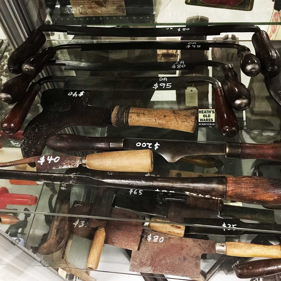 Antique draw knife /  knives and tools, for sale at Heaths Old Wares, Collectables, Antiques & Industrial Antiques, 19-21 Broadway, Burringbar NSW 2483 Ph 0266771181 open 7 days