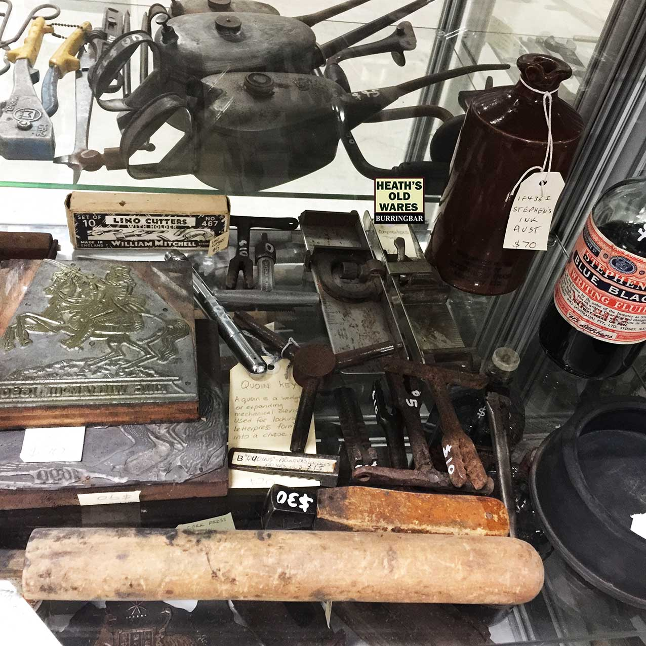 Antique printing tools for sale at Heaths Old Wares, Collectables, Antiques & Industrial Antiques, 19-21 Broadway, Burringbar NSW 2483 Ph 0266771181 open 7 days