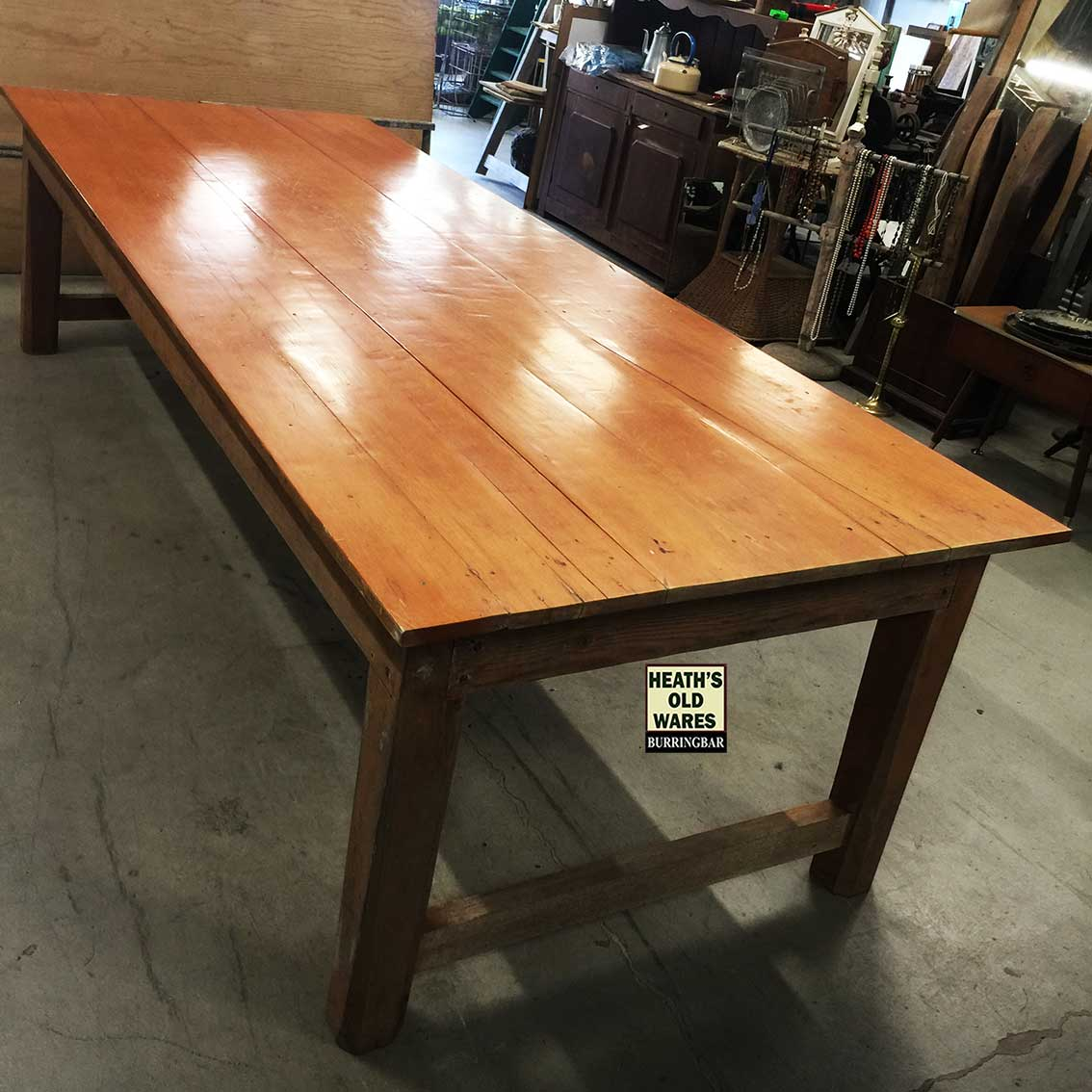 Large low pine dining table for sale at Heaths Old Wares, Collectables, Antiques & Industrial Antiques, 19-21 Broadway, Burringbar NSW 2483 Ph 0266771181 open 7 days
