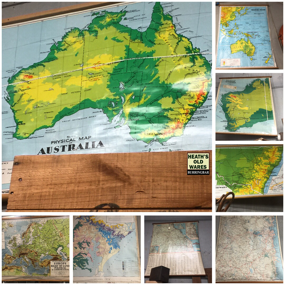 Vintage school maps for sale at Heaths Old Wares, Collectables, Antiques & Industrial Antiques, 19-21 Broadway, Burringbar NSW 2483 Ph 0266771181 open 7 days