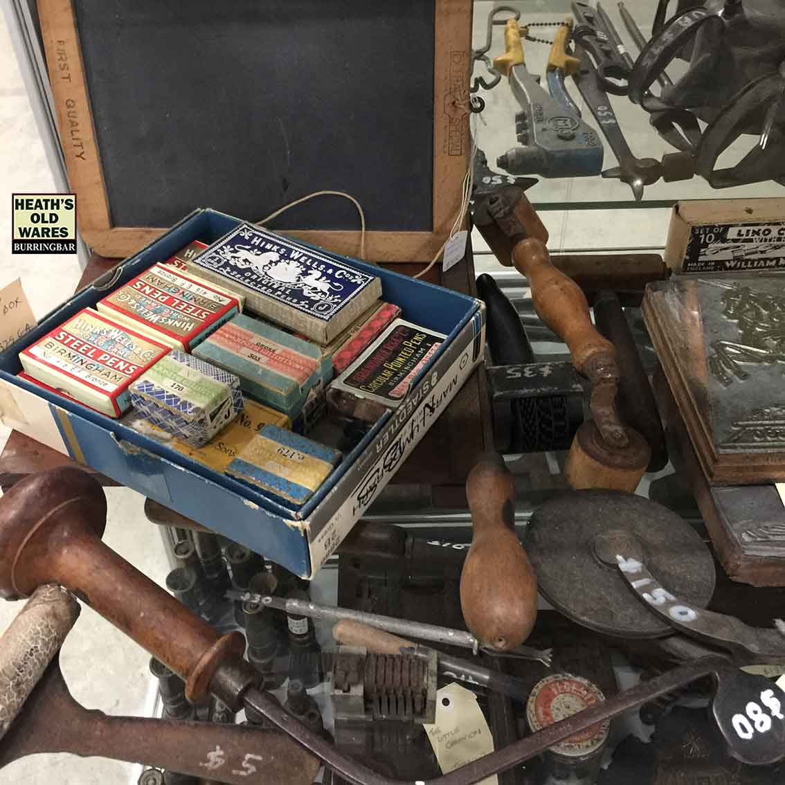 Antique writing nibs and printing tools for sale at Heaths Old Wares, Collectables, Antiques & Industrial Antiques, 19-21 Broadway, Burringbar NSW 2483 Ph 0266771181 open 7 days