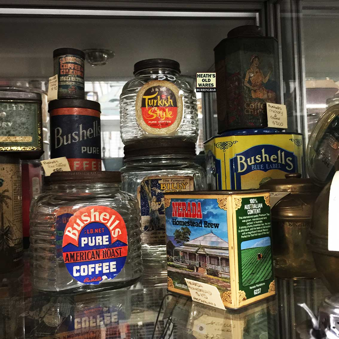 Antique and vintage tea and coffee jars for sale at Heaths Old Wares, Collectables, Antiques & Industrial Antiques, 19-21 Broadway, Burringbar NSW 2483 Ph 0266771181 open 7 days