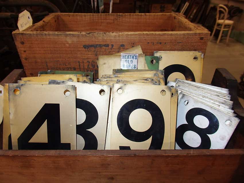 Aluminium score board numbers from bowling for sale at Heaths Old Wares, Collectables & Industrial Antiques, 19-21 Broadway, Burringbar NSW 2483 Ph 0266771181