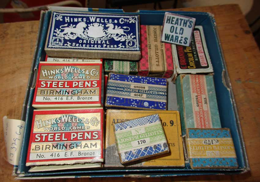 Assorted steel pen nibs for sale at Heaths Old Wares, Collectables & Industrial Antiques, 19-21 Broadway, Burringbar NSW 2483 Ph 0266771181