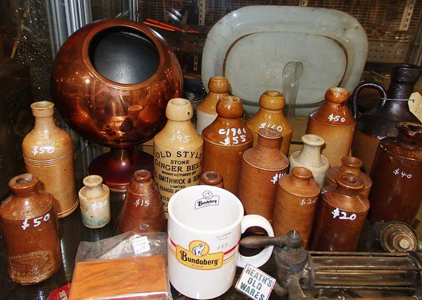 Antique stone ginger beer bottles for sale at Heaths Old Wares, Collectables & Industrial Antiques, 19-21 Broadway, Burringbar NSW 2483 Ph 0266771181