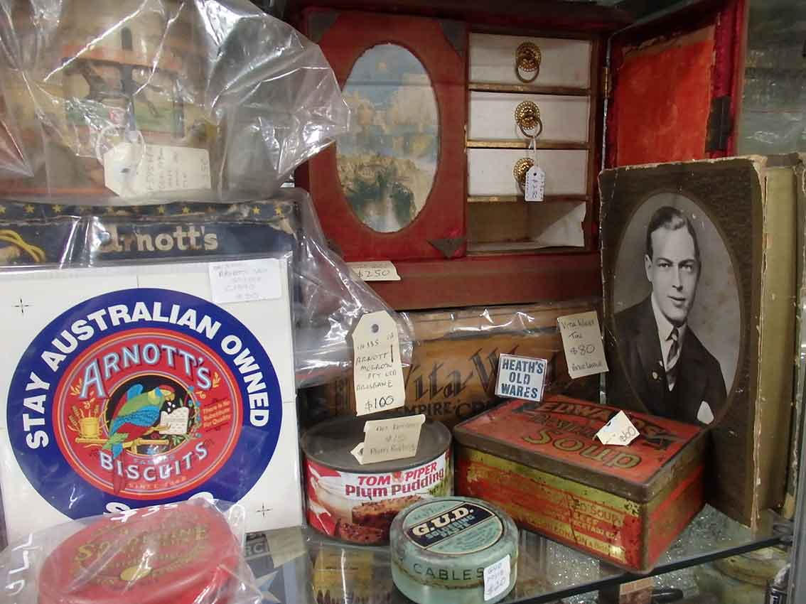 Vintage arnotts and cadbury's packaging for sale at Heaths Old Wares, Collectables & Industrial Antiques, 19-21 Broadway, Burringbar NSW 2483 Ph 0266771181