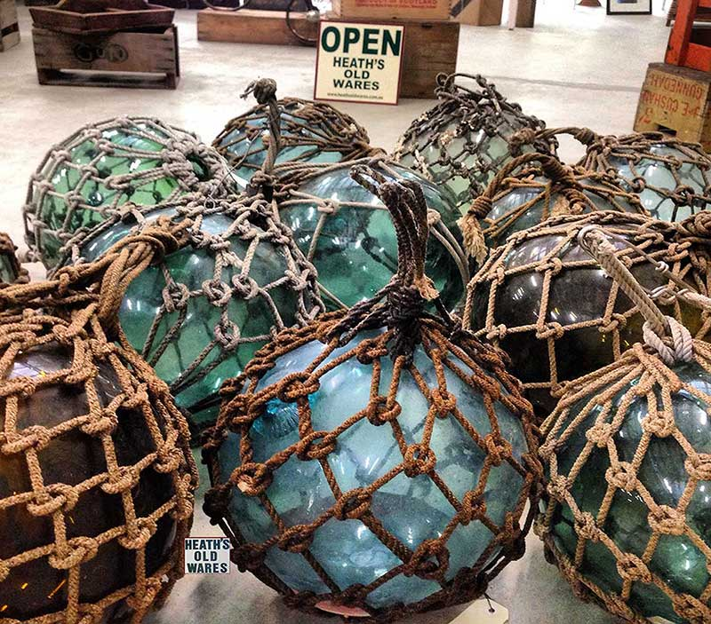 Original Glass Fishing Floats for sale at Heaths Old Wares, Collectables & Industrial Antiques, 19-21 Broadway, Burringbar NSW 2483 Ph 0266771181