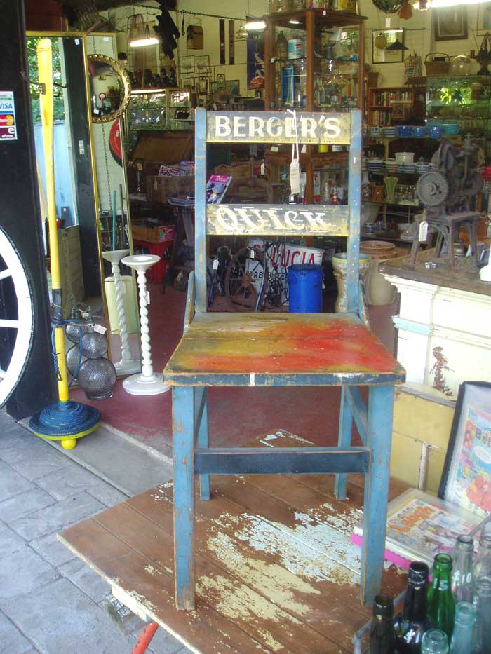 Berger Paints Timber Chair for sale at Heaths Old Wares , Collectables Antiques and Industrial Antiques. 19-21 Broadway, Burringbar NSW Open 7 days 9am - 5pm phone 0266771181