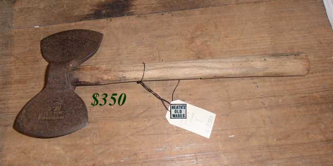 antique axe stamped birmingham for sale at HEATHS OLD WARES COLLECTABLES AND INDUSTRIAL ANTIQUES Heaths Old Wares, collectables and industrial antiques, 19-21 Broadway Burringbar NSW 2483 Open 7 days Ph: 0266771181