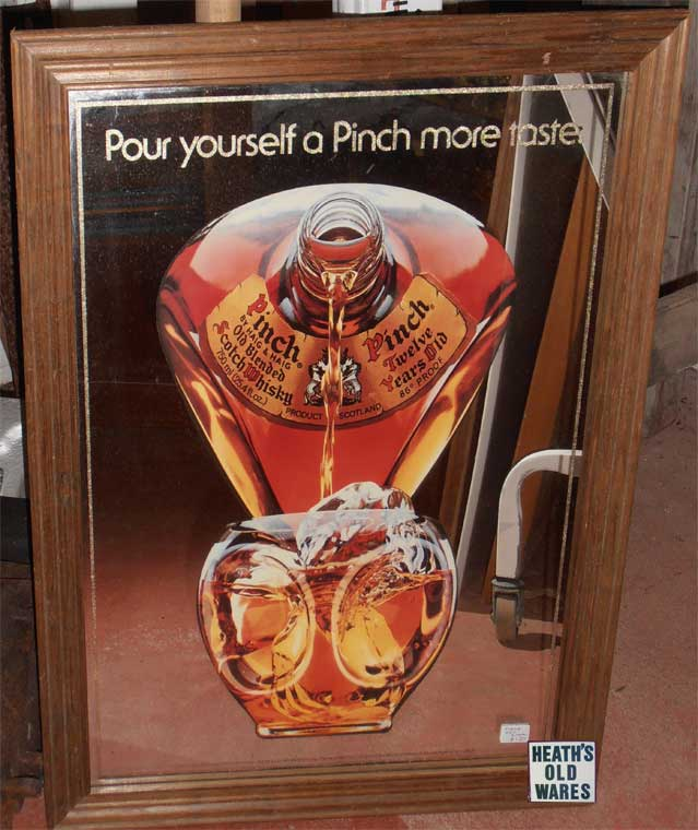 vintage mirror haig  pinch whisky for sale at Heaths Old Wares , Collectables Antiques and Industrial Antiques. 19-21 Broadway, Burringbar NSW Open 7 days 9am - 5pm phone 0266771181
