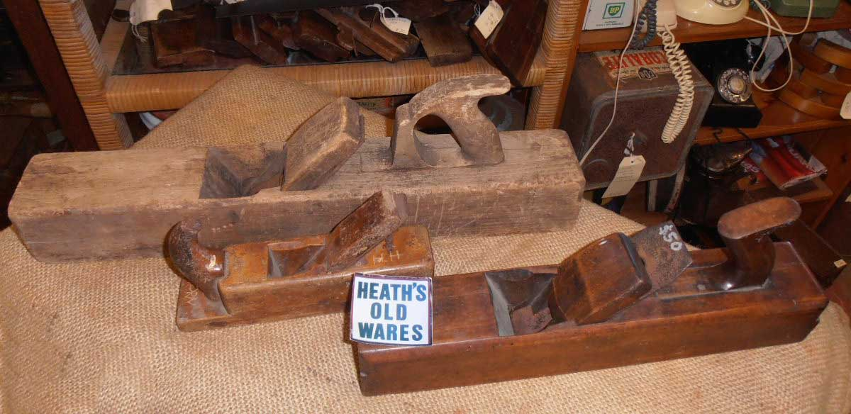 Antique woodworking plane for sale at Heaths Old Wares , Collectables Antiques and Industrial Antiques. 19-21 Broadway, Burringbar NSW Open 7 days 9am - 5pm phone 0266771181
