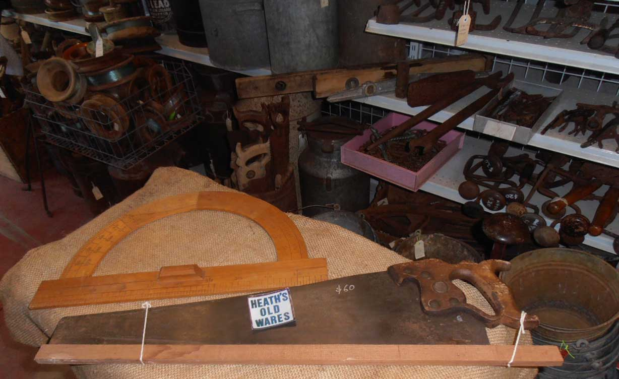 antique woodworking tools for sale at Heaths Old Wares , Collectables Antiques and Industrial Antiques. 19-21 Broadway, Burringbar NSW Open 7 days 9am - 5pm phone 0266771181