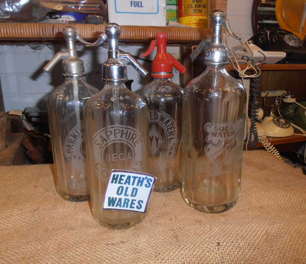 soda syphons for sale at Heaths Old Wares, Collectables & Industrial Antiques, 19-21 Broadway, Burringbar NSW 2483 Ph 0266771181 open 7 days