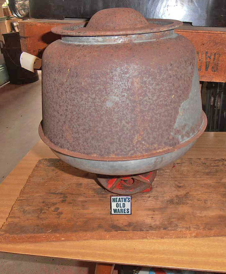 metal round butter churn, works on centrifugal force for sale at Heaths Old Wares , Collectables Antiques and Industrial Antiques. 19-21 Broadway, Burringbar NSW Open 7 days 9am - 5pm phone 0266771181