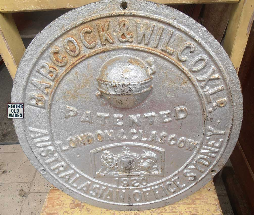 Babcock & Wilcox cast iron Plaque for sale at Heaths Old Wares, Collectables & Industrial Antiques, 19-21 Broadway, Burringbar NSW 2483 Ph 0266771181 open 7 days